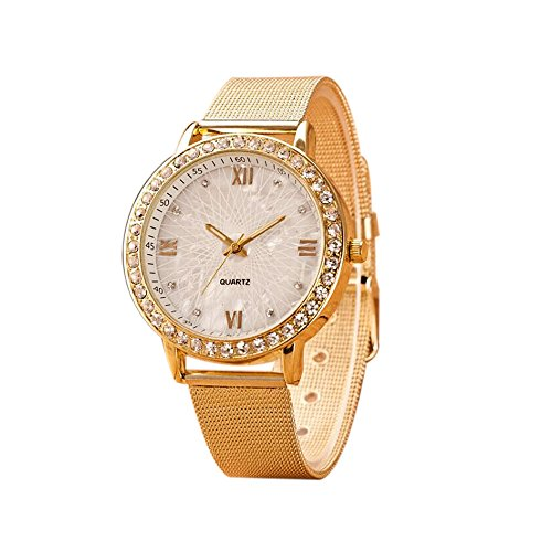 Diamonds Watch Womens 20 (Han Shi Watch, Women Fashion Luxury Diamond Crystal Gold Mesh Band Wrist Watch Bracelet (M, Gold))