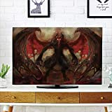 LCD TV dust Cover Customizable,Fantasy World,Devil Shadow with Wings Primary Opponent of Good Rising Hell Afterlife Image Decorative,Red Grey,Graph Customization Design Compatible 47' TV