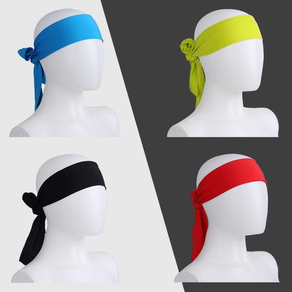 Knowing Sports Head Tie Diadema Deportiva 2 Piezas Unisex Head Tie Sports Diadema Negro y Rojo Banda el Cabello Suave y El/ástica para Correr Yoga Baloncesto Karate Atletismo