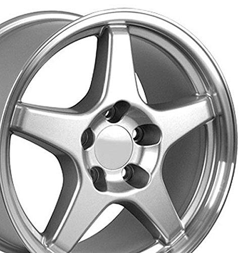 17×9.5 Wheel Fits Corvette, Camaro – ZR1 Style Silver w/Mach'd Lip Rim