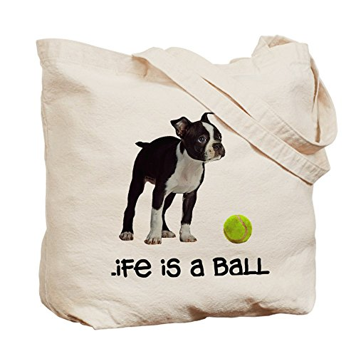 Cafepress – Boston terrier Life – Borsa di tela naturale, tessuto in iuta