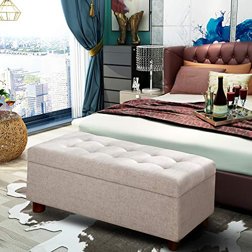 Merax Button Tufted Ottoman Seat Section Bench with Nail Head Trim Multi Position Bench