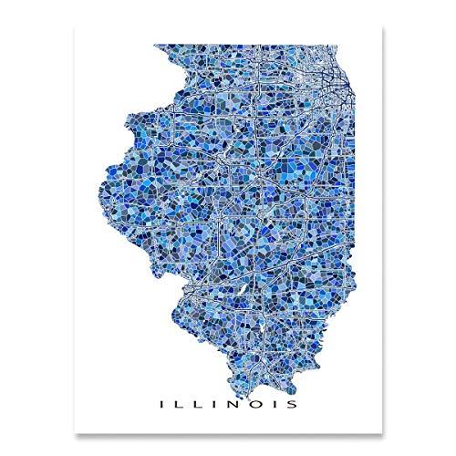 Illinois Map Print, IL State Wall Art Decor, Blue