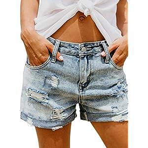 Sidefeel Women Casual Frayed Destroy Bermuda Denim Ripped Short Jeans