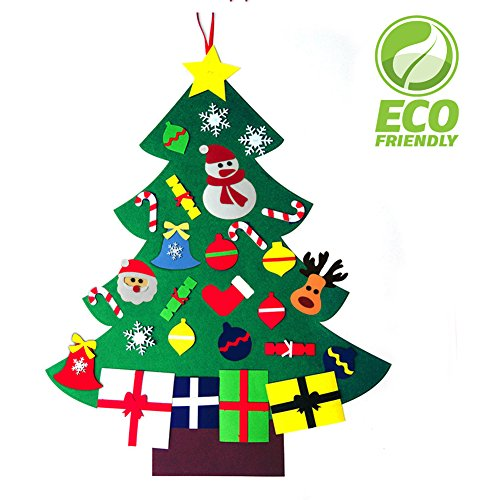 3FT Felt Christmas Tree Set for Kids with 28 Ornaments Double Stitched Wall Hanging DIY Velcro Decoration Xmas New Year Gifts Home Door (Ornaments Fabric Diy Christmas)