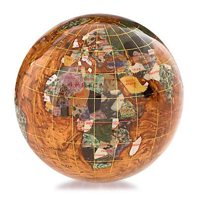 Gemstone Globe Paperweight with Opalite Ocean Color: Copper Amber, Size: 4''