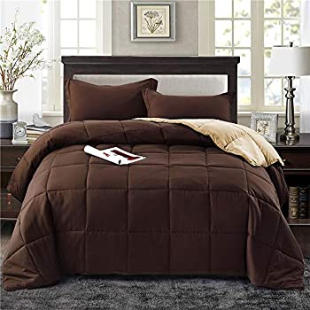 HIG 3pc Down Alternative Comforter Set - All Season Reversible Comforter with Two Shams - Quilted Duvet Insert with Corner Tabs -Box Stitched -Hypoallergenic, Soft, Fluffy (King/Cal King, Chocolate)