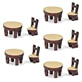 5 Sets of Miniature Resin Chair Table Micro Landscape Bonsai Dollhouse Decor