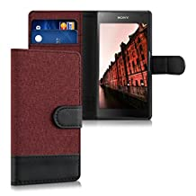 kwmobile Wallet case canvas cover for Sony Xperia Z5 Compact - Flip case with card slot and stand in dark red black