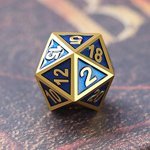 - WICHEMI 7-die Metal Polyhedral Dice Set DND Shiny Gold and Blue Enamel Role Playing Game Dice Set with Storage Bag for RPG Dungeons and Dragons D&D Math Teaching