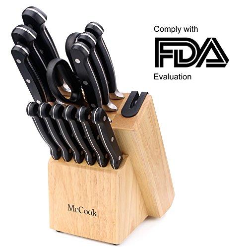 McCook MC22 14 Pieces Knife Set Includes Chef Knife, Slicing Knife, Santoku Knife,Utility Knife,Paring Knife,Steak Knife,Kitchen Shears and Rubberwood Knife Block with Built-in Sharpener(Black)