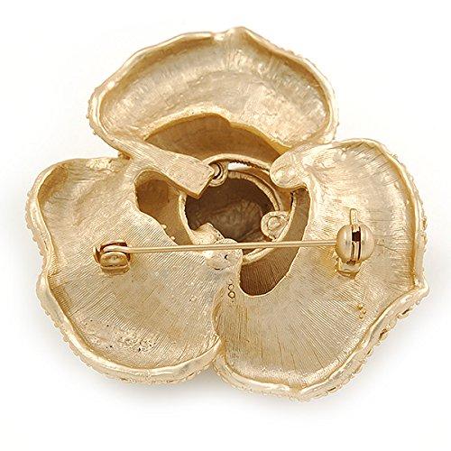 Avalaya Broche En forme de rose dimensionnelle en m/étal dor/é finition bross/é/Diam/ètre de 55/mm