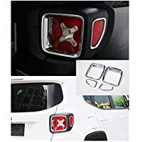 Nicebee Silver 4pcs Car Tail Light Guard Rear Lamp Trim Cover Ring Outlet Exterior ABS Chrome for Jeep Renegade 2015 UP