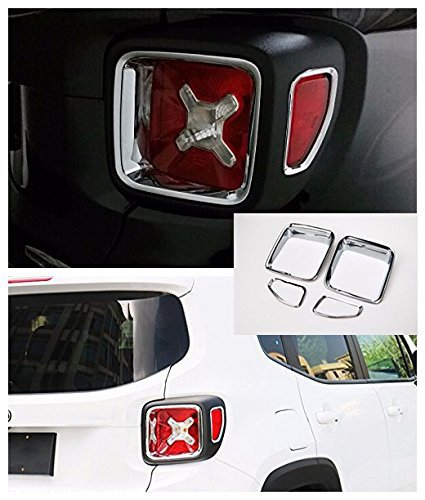 Nicebee Silver 4pcs Car Tail Light Guard Rear Lamp Trim Cover Ring Outlet Exterior ABS Chrome for Jeep Renegade 2015 ()