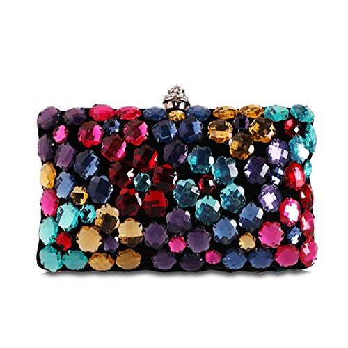 Hibags Fashion color diamond studded dinner bag evening bag satchel clutch (Studded Satchel Bag)