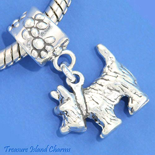 Cairn Terrier Toto - Cairn Terrier Dog Toto .925 Solid Sterling Silver European Dangle Bead Charm for Pendant or Bracelet by Charm Crazy