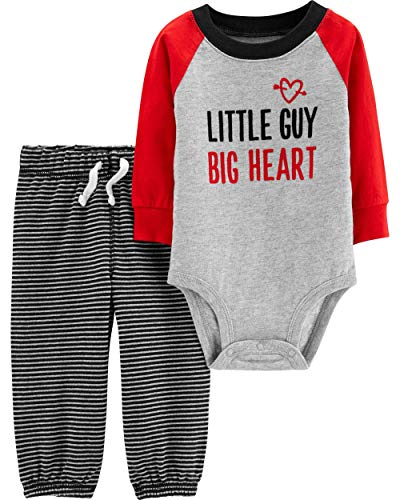 Carter's Baby Boy's Valentine's Day Little Guy Big Heart Bodysuit and Pants (Newborn), Grey, Red, White (Valentines Carters Shirt)