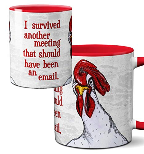 - Chicken Meeting Red Mug by Pithitude - One Single 11oz Red Coffee Cup