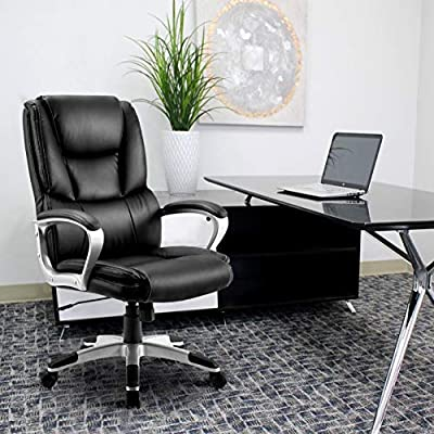 Leather Office Chair High Back - Executive Swivel Office Computer Desk Chair,Adjustable Tilt Angle & Height,Thick Padding for Comfort and Ergonomic Design