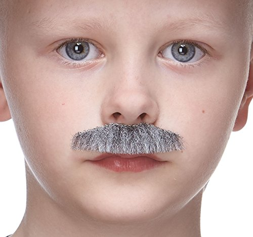 Mustaches Fake Mustache, Self Adhesive, Novelty, Small Policeman False Facial Hair, Costume Accessory for Kids, Gray with White Color ()