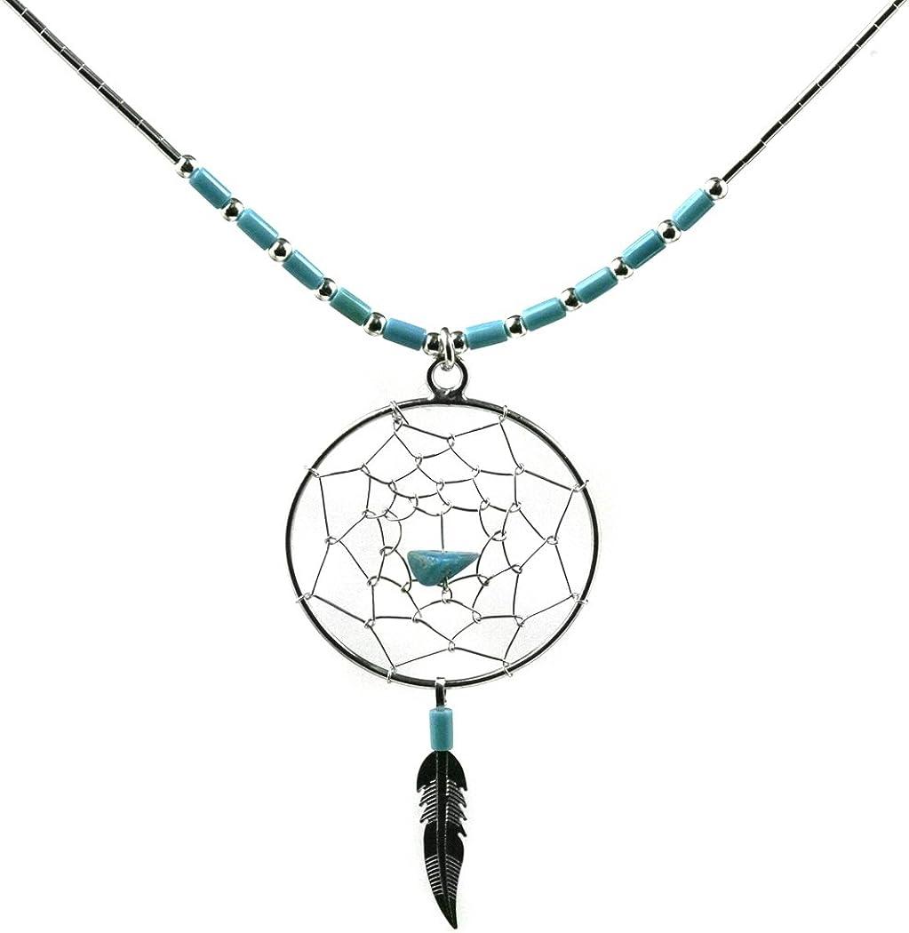 Plata de Ley Collar de turquesa de imitación de atrapasueños 46cm