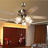 SDKKY European style retro mahogany Moire stripe, Diaozhongyan bedroom ceiling fan lamp 52 Inch large chandelier ceiling fan wind, living room,Five l