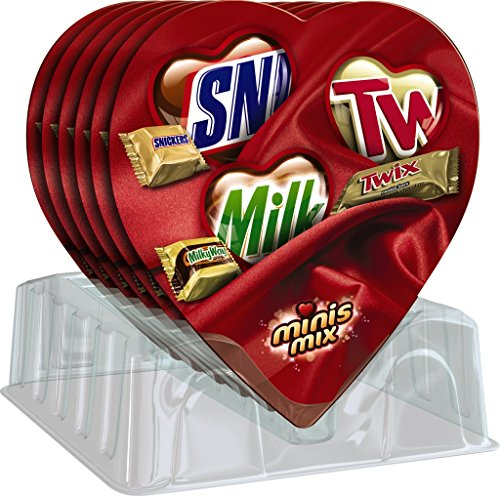 MARS Chocolate Valentine's Minis Size Candy Bar Variety Mix Gift 7.7-oz Heart 6-ct Box (Pack of 2)