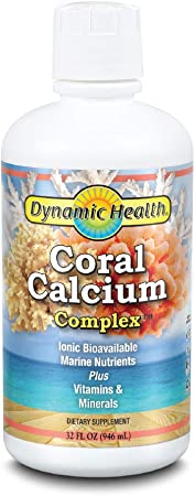 Dynamic Health Coral Calcium Complex | Bone Health & PH Level Support | Easier Than Capsules, Liquid Supplement | With Magnesium | 32oz, 32 Serv
