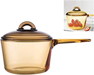 Healthy Safe Glass Slow Cooker Home Compact 800Degree Heat Resistant Soup Stew Pot 1.5L,Amber