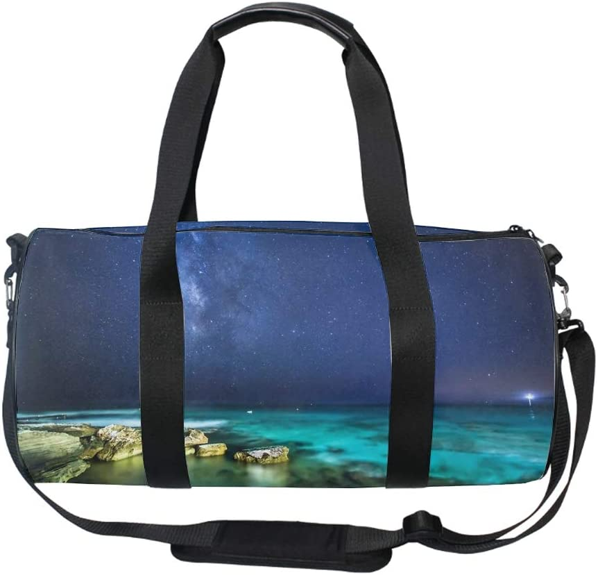 Gym Sports Small Duffel Bag for Men and Women with Shoes Compartment Ocean Night Sky