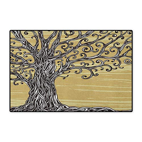 Tree of Life,Door Mats for Floors,Swirled Twists Rustic Oak Branches Spiritual Nature Eco Sketch Illustration,Mat for Tub Doorroom,Mustard Brown,Size,24