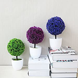 Fake Flowers - 26types Greeting Pine Cherry Blossom Ball Potted Artificial Bonsai Trigeminal Wedding Festival Fake - Dark Gold Pot Tree Dollar Purple Dahlia Jewelry Craft House 2