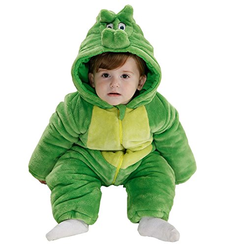 Dinosaur Costume Snow (MerryJuly Baby Boys Girls Winter Flannel Animal Bunting Outfits Snowsuit Romper Outwear (100(for 18-24 months,Height 31.5