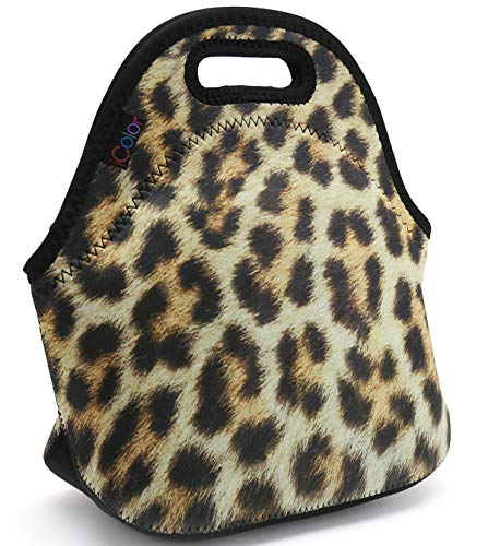 (Leopard Print Insulated Lunch Tote Bag Cooler Box Neoprene Lunchbox for School Work)