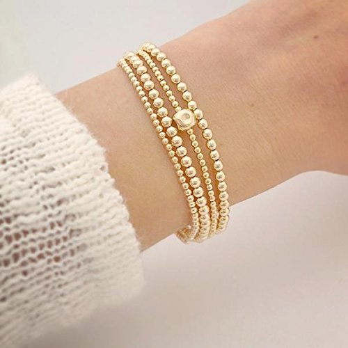 14k gold-filled single cube beaded bracelet - 6.5 length