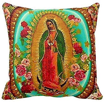 Our Lady Guadalupe Mexican Saint Virgin Mary Cotton Linen Pillow Case ()