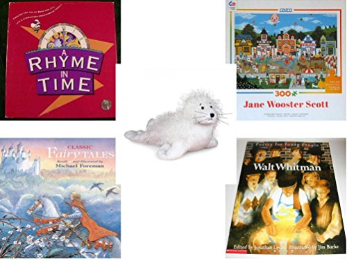 Children's Gift Bundle - Ages 6-12 [5 Piece] - A Rhyme In Time Game - Circus Pandemonium 300 Piece Puzzle - Webkinz White Seal Plush - Classic Fairy Tales Hardcover Book - Walt Whitman Poetry for Yo -  Secure-Order-Marketplace, Ent., dbund-6-12-5978