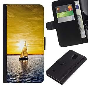 LECELL--Cuero de la tarjeta la carpeta del tirón Smartphone Slots Protección Holder For Samsung Galaxy Note 4 IV -- Sunset yate --
