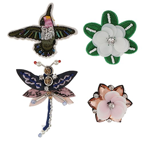 Sequin Flowers Brooch (Jili Online 4 Pieces/Set Dragonfly Flower Sequins Rhinestones Beads Brooch Appliques Patches for Clothing Decoration)