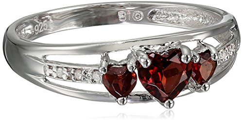 Sterling Silver Garnet and Diamond Accent Three-Heart Ring, Size 8