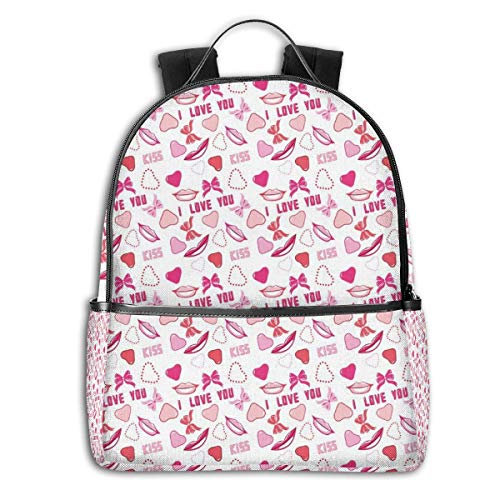 College Backpacks for Women Girls,Romance Related Images In Pink Pattern With Bows Lips Valentines Hearts,Casual Hiking Travel Daypack]()