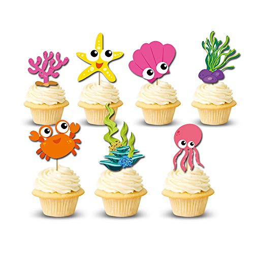 (Suppar Marine Life Cupcake Toppers Baby Shower Birthday Under the Sea Theme Party Decorations 28)