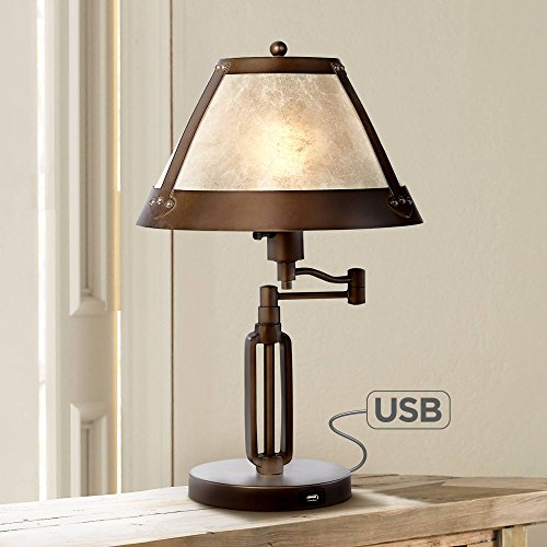 Traditional Wide Desk - Samuel Traditional Desk Table Lamp Swing Arm with Hotel Style USB Charging Port Bronze Natural Mica Shade for Bedroom Office - Franklin Iron Works