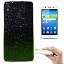 Zooky® Ultra thin & soft Premium TPU Raindrop Case / cover for Huawei Honor 4A / Huawei Y6, Transparent / Green