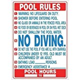 pool rules sign HY-KO Products 20412 Pool Rules (Florida) Heavy Duty Plastic Sign, 27 in x 19 in in, Blue/White/Red
