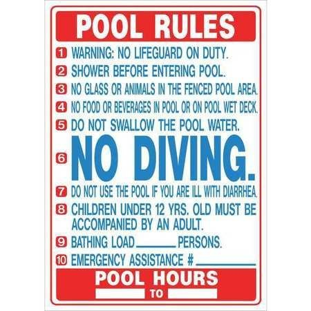 HY-KO Products 20412 Pool Rules (Florida) Heavy Duty Plastic Sign, 27 in x 19 in in, Blue/White/Red
