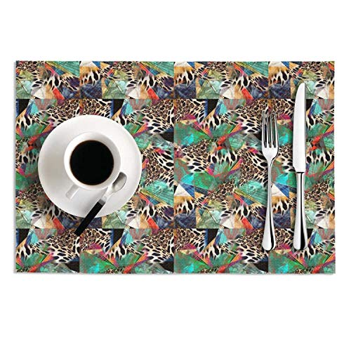 MAD DAFGA Leopard Cheetah Print Geometric Green PVC-Set of 2 Woven Vinyl Placemats Table Mats Kitchen Crossweave Woven ()