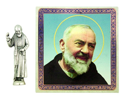 - Ambrosiana Patron Saint Padre Pio of Pietrelcina 1 1/2 Inch Pocket Statue with Prayer Card