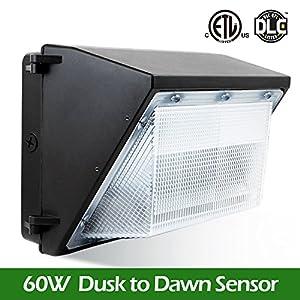 BWL 60W Led Wall Pack Light with Photo Sensor/Cell 5000K Daylight, 6600Lumen, Lifetime 50000H, Ip65 Waterproof Security Area Lighting, 5 Years Warranty