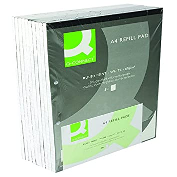 10 X A4 REFILL PADS RULED NARROW FEINT /& MARGIN PUNCHED 2-HOLE BOUND 80 LEAF